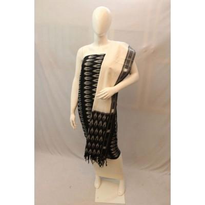 NNT Black Ikkat Un-Stitched Handloom Dress Material
