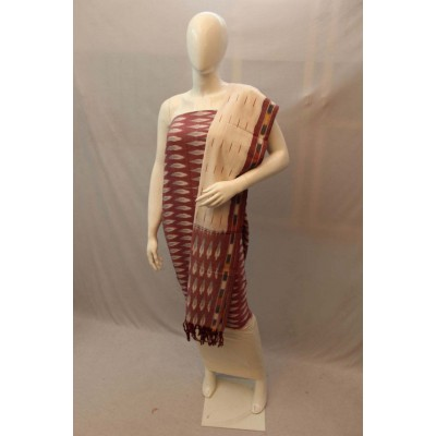 NNT Brown Ikkat Un-Stitched Handloom Dress Material