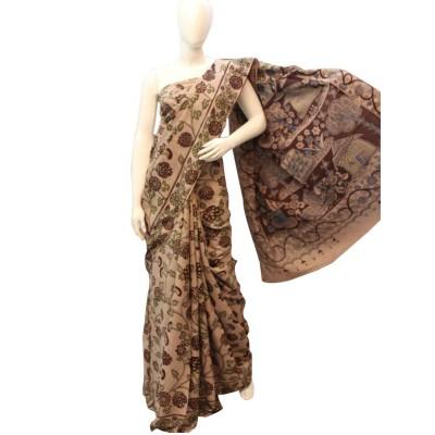 NNT Brown Pure Mul Mul Cotton Kalamkari Saree