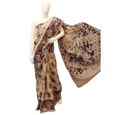 NNT Cream Pure Mul Mul Cotton Kalamkari Saree