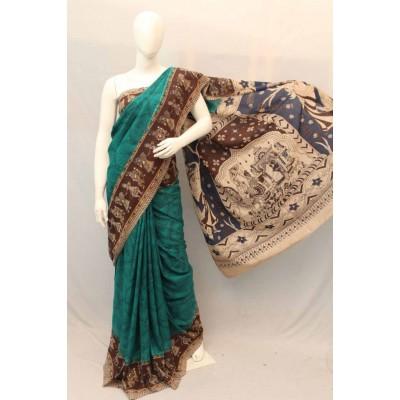 NNT Dark Green Kalamkari Silk Saree