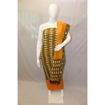 NNT Green Ikkat Un-Stitched Handloom Dress Material