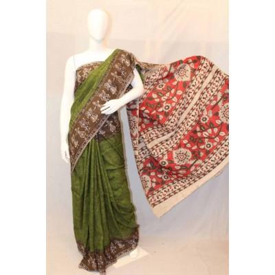 NNT Green Kalamkari Silk Saree