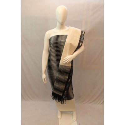 NNT Grey Ikkat Un-Stitched Handloom Dress Material