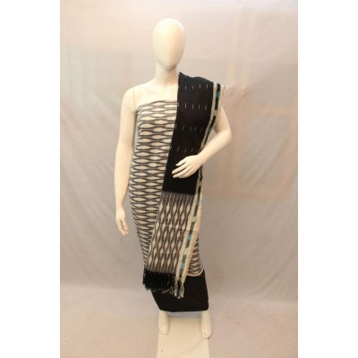 NNT Grey Ikkat Un-Stitched Handloom Dress Material