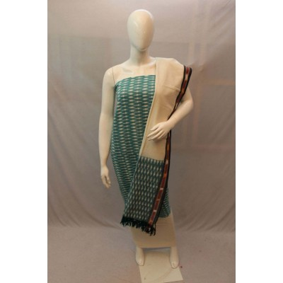 NNT Light Green Ikkat Un-Stitched Handloom Dress Material
