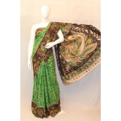 NNT Light Green Kalamkari Silk Saree