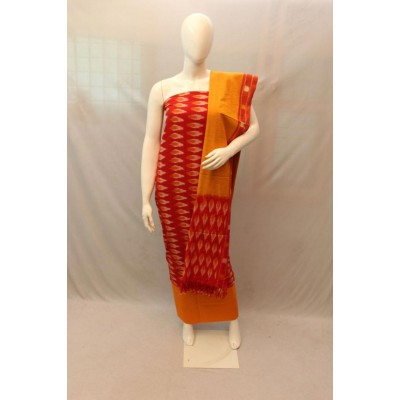 NNT Maroon Ikkat Un-Stitched Handloom Dress Material