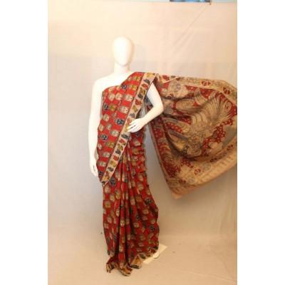 NNT Maroon Kalamkari Silk Saree