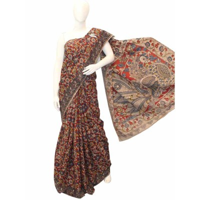 NNT Maroon Pure Mul Mul Cotton Kalamkari Saree
