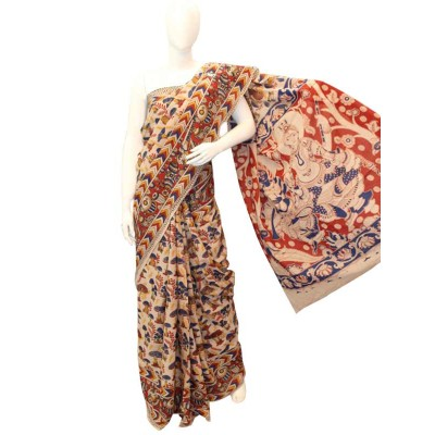 NNT Multi Colour Pure Mul Mul Cotton Kalamkari Saree