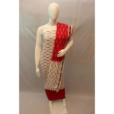 NNT Off White Ikkat Un-Stitched Handloom Dress Material
