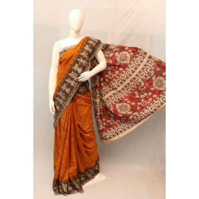 NNT Orange Kalamkari Silk Saree