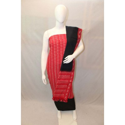 NNT Red Ikkat Un-Stitched Handloom Dress Material