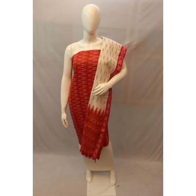 NNT Red Ikkat Un-Stitched Handloom Dress Material