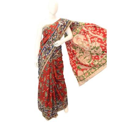 NNT Red Pure Mul Mul Cotton Kalamkari Saree