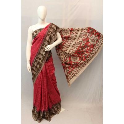 NNT Rose Kalamkari Silk Saree