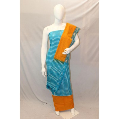 NNT Sky Blue Ikkat Un-Stitched Handloom Dress Material