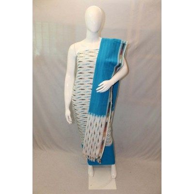 NNT White Ikkat Un-Stitched Handloom Dress Material