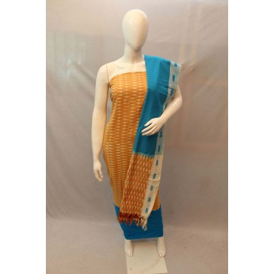 NNT Yellow Ikkat Un-Stitched Handloom Dress Material