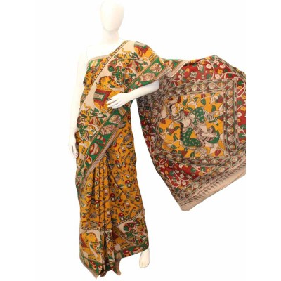 NNT Yellow Pure Mul Mul Cotton Kalamkari Saree
