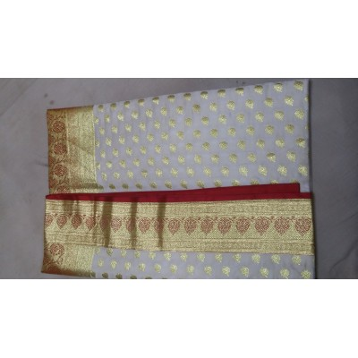 banarasi White Silk Booti Worked Uppada Handloom Saree