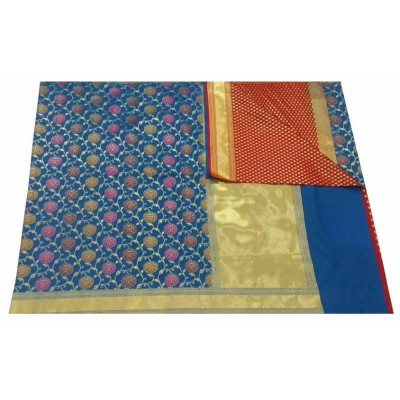 banarasi Blue Art Silk Zari Worked Saree