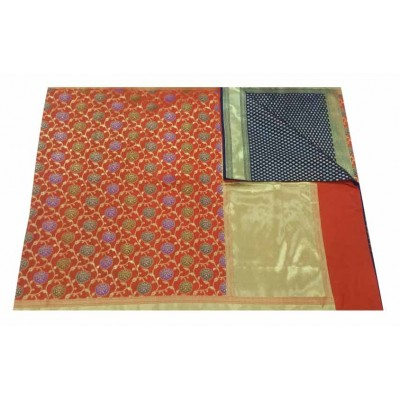 banarasi Orange Art Silk Zari Worked Saree