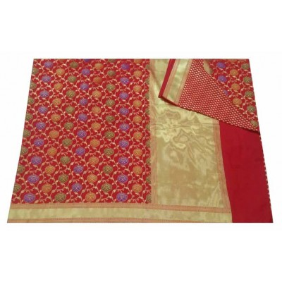 banarasi Red Art Silk Zari Worked Saree