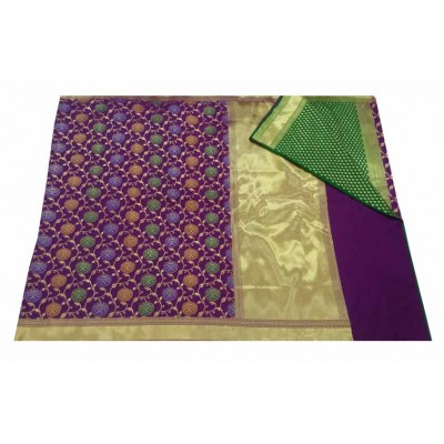 banarasi Violet Art Silk Zari Worked Saree