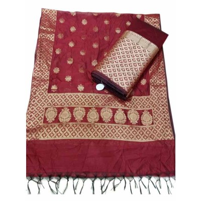 N collection Maroon Silk Banarasi Weaved Un-Stitched Dress Material