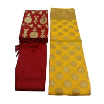 N collection Yellow Silk Banarasi Weaved Un-Stitched Handloom Dress Material
