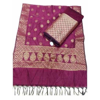 N collection Magenta Silk Banarasi Weaved Un-Stitched Dress Material