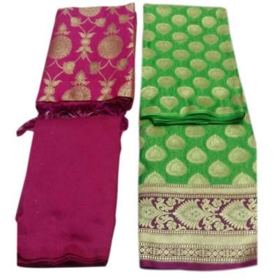 N collection Green Silk Banarasi Weaved Un-Stitched Handloom Dress Material