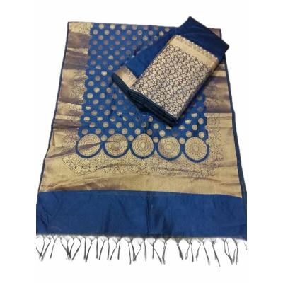 N collection Dark Blue Silk Banarasi Weaved Un-Stitched Dress Material