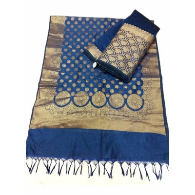 N collection Dark Blue Silk Banarasi Weaved Un-Stitched Dress Material