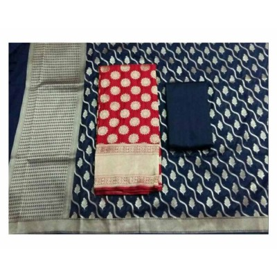 N collection Orange Silk Banarasi Weaved Un-Stitched Handloom Dress Material