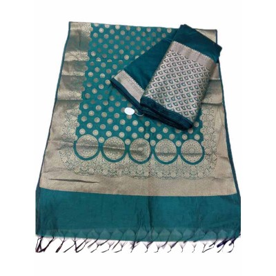 N collection Blue Silk Banarasi Weaved Un-Stitched Dress Material
