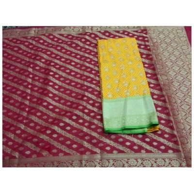 N collection Yellow Silk Banarasi Weaved Un-Stitched Handloom Dress Material