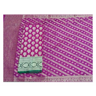 N collection Magenta Silk Banarasi Weaved Un-Stitched Handloom Dress Material