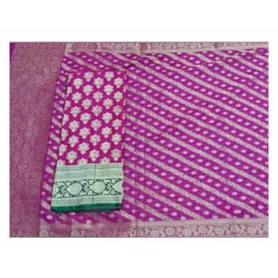 N collection Magenta Silk Banarasi Weaved Un-Stitched Handloom Dress Material