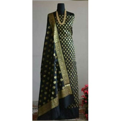 N collection Black Silk Banarasi Weaved Un-Stitched Dress Material