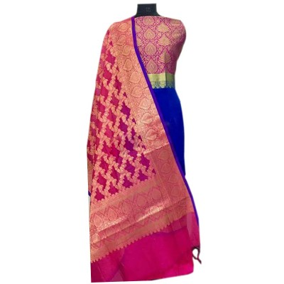 N collection Blue Silk Banarasi Weaved Un-Stitched Handloom Dress Material