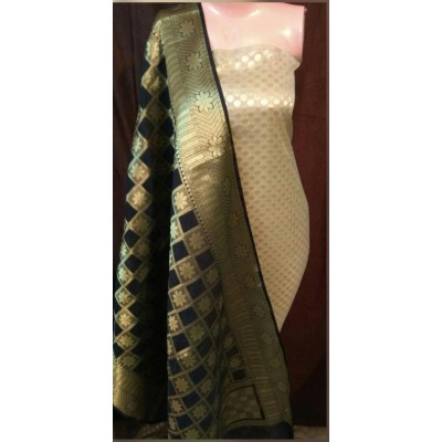 N collection Gold Semi Silk Brocaded Un-Stitched Dress Material