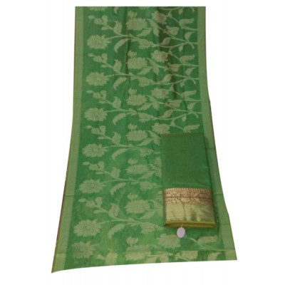 N collection Green Chanderi Silk Banarasi Weaved Un-Stitched Dress Material