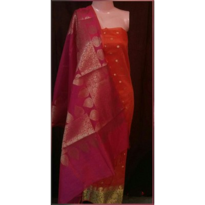 N collection Orange Semi Chanderi Silk Banarasi Weaved Un-Stitched Dress Material