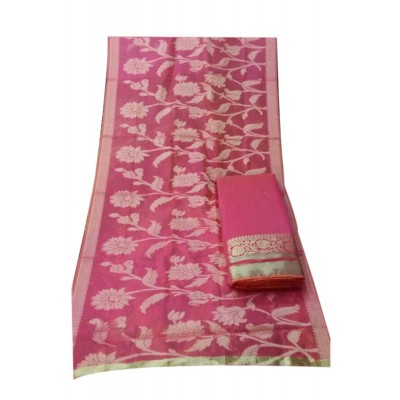 N collection Pink Chanderi Silk Banarasi Weaved Un-Stitched Dress Material