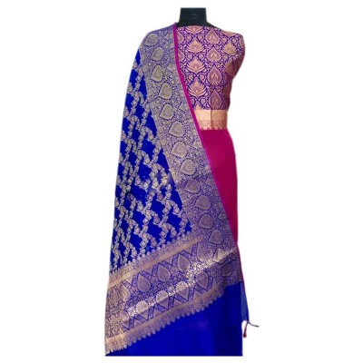 N collection Pink Silk Banarasi Weaved Un-Stitched Handloom Dress Material