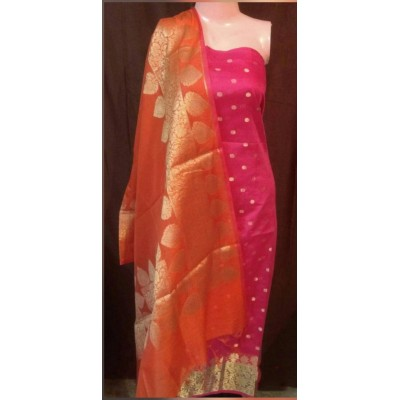 N collection Pink Semi Chanderi Silk Banarasi Weaved Un-Stitched Dress Material