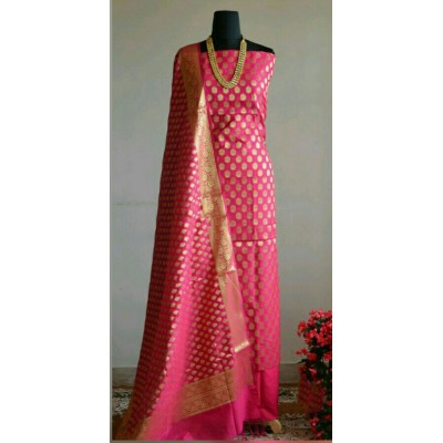 N collection Pink Silk Banarasi Weaved Un-Stitched Dress Material